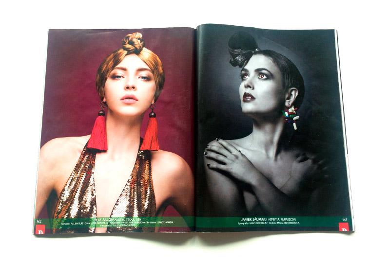 Interior de revista Hair Style con modelo peinada por Javier Jauregi